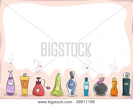 Background Illustration of Different Kinds of Perfume with copyspace