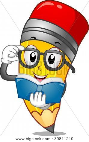 Mascot Illustration of a Pencil Reading a Book