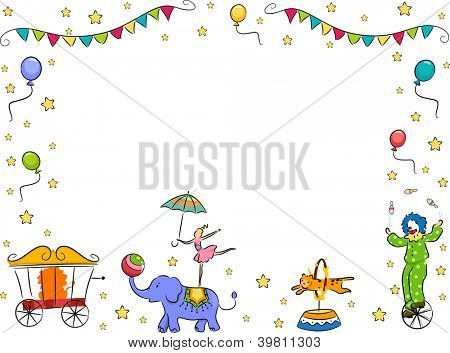 Border Illustration of a Circus Band