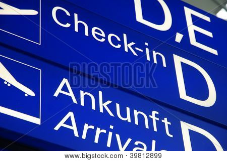 direction sign on airport