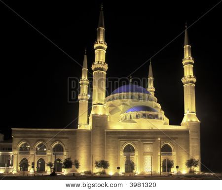 Floodlit Blue Mosque In Beirut