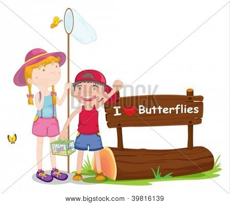 illustration of kids and a notice board on a white background