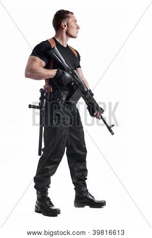 Police Officer Is Holding Kalashnikov
