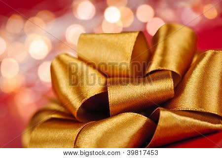 Gold Gift Bow With Festive Lights