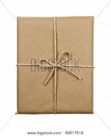 Gift In Brown Paper Tied With String
