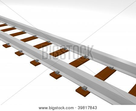 3D Render Of Train Tracks