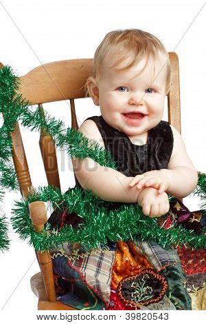 Adorable Christmas Baby Rocks In Patchwork Dress