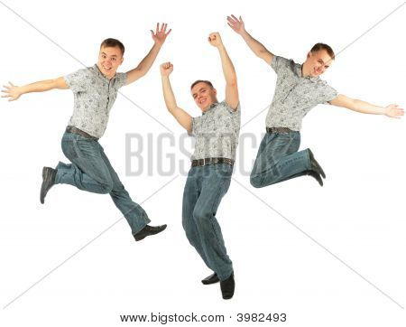 Glad Jumping Person With Raised Hand