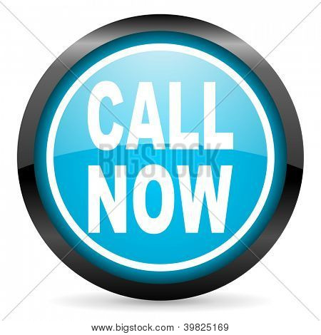 call now blue glossy circle icon on white background