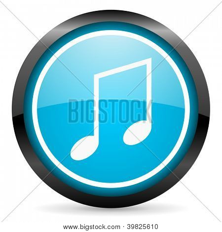 music blue glossy circle icon on white background
