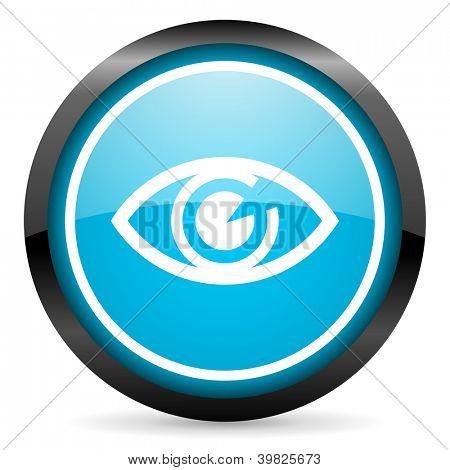 eye blue glossy circle icon on white background