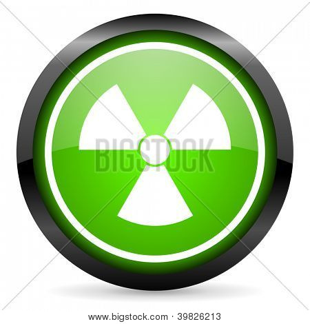radiation green glossy icon on white background