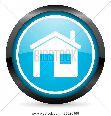 home blue glossy circle icon on white background