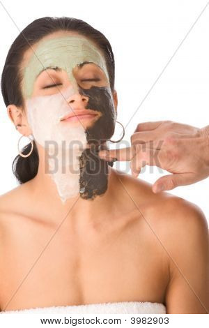Spa Treatment - Color Facial Mask On Ethnic Woman