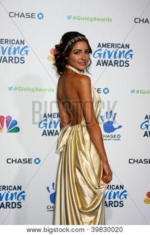 LOS ANGELES - DEC 7:  Olivia Culpo arrives to the 2012 American Giving Awards at Pasadena Civic Center on December 7, 2012 in Pasadena, CA