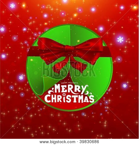 Abstract green Christmas ball cutted from paper on red background with Christmas tree formed from curled corner paper and red ribbon bow. Vector eps10 illustration
