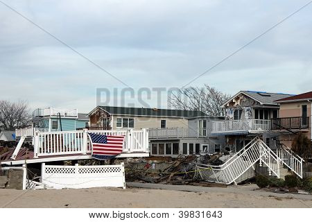 Destroyed houses in the aftermath of Hurricane Sandy