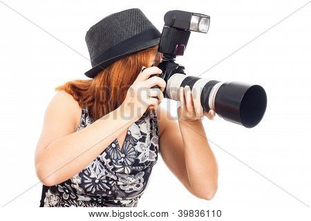 Female Photographer In Action