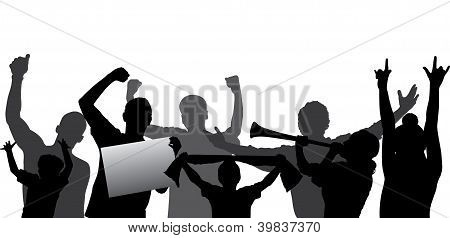 Sports fans, cheering crowd vector silhouettes. Fully editable
