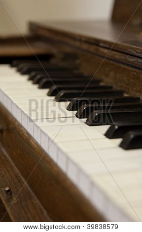 Close Up Of Old Piano