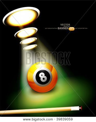vector background with a billiard ball and cue