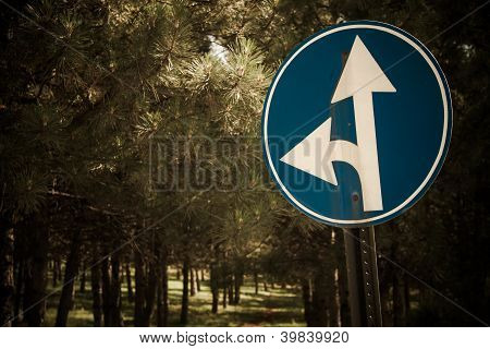 Go Straight or Left Traffic Sign
