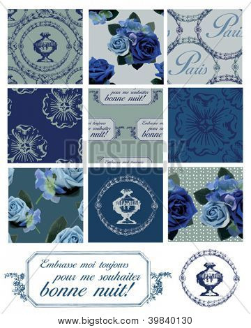 Parisian Themed Seamless Vector Floral Patterns and Icons.