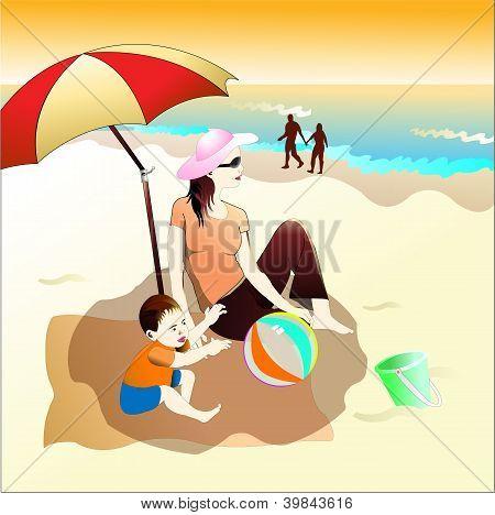 family-mam&baby on beach