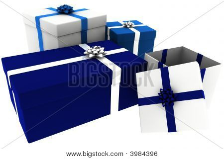 Rendered Blue And White Presents With Open Box
