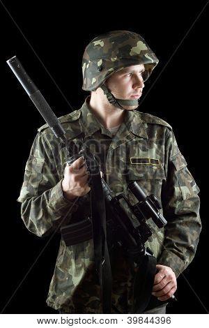 Soldier Grasping A Gun