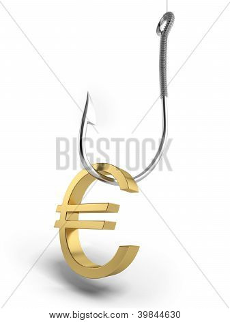 Fishing hook with golden symbol of euro