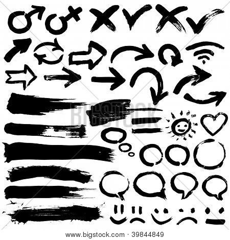 A collection of black grungy vector abstract hand-painted brush and  stroke arrows