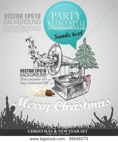 Grunge banner in retro style for Christmas with copy space. Abstract background for party;