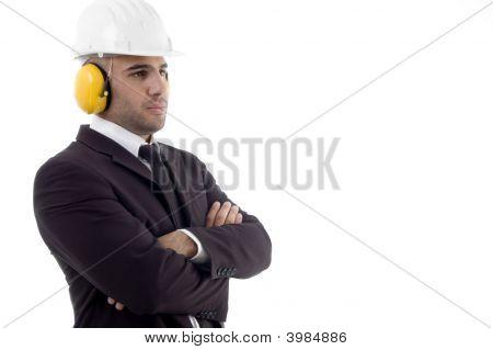 Male Architect Wearing Earmuff