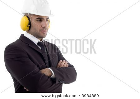 Folded Arm Engineer Wearing Earmuff