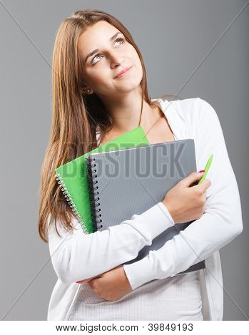 Casual Dressed High School Student Girl