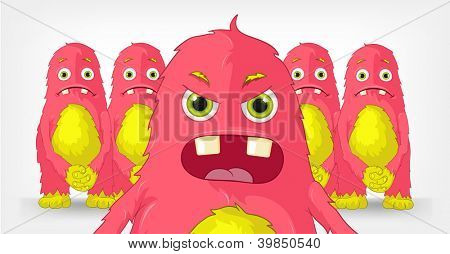 Cartoon Character Funny Monster. Engry Boss. Vector EPS 10.