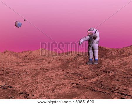 First Man On Mars Planet - 3D Render