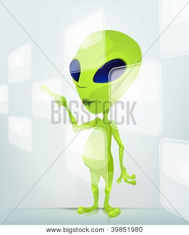 Cartoon Character Funny Alien Isolated on Grey Gradient Background. Touch Screen. Vector EPS 10.