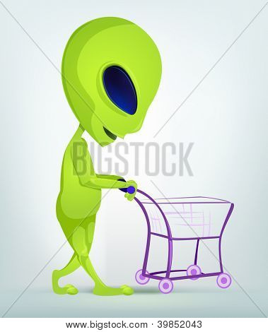 Cartoon Character Funny Alien Isolated on Grey Gradient Background. Shopping. Vector EPS 10.