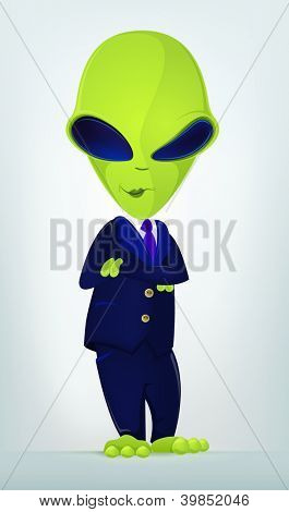 Cartoon Character Funny Alien Isolated on Grey Gradient Background. Businessmen Cross Hands. Vector EPS 10.