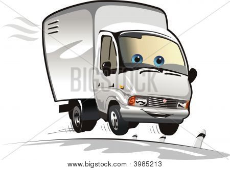 Vector Cartoon Delivery Truck