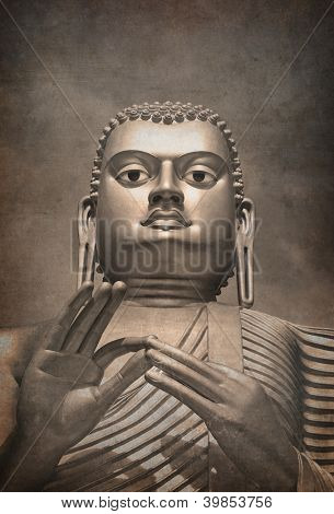 A giant Golden Buddha statue vintage effort. Style of early photograph.