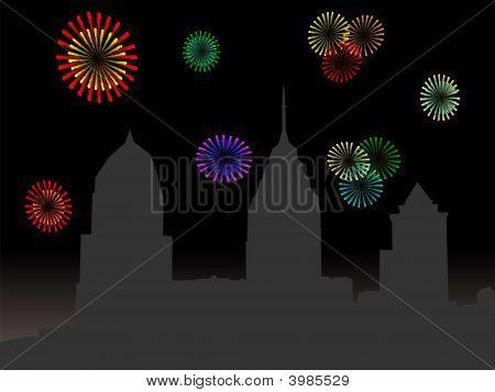 Philadelphia Skyline With Fireworks