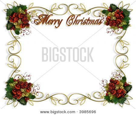 Christmas Border Frame 3D Text