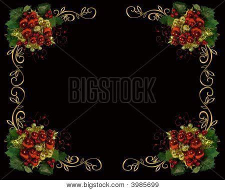 Christmas Border Frame On Black