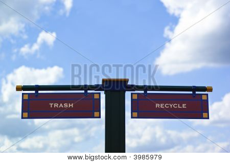 Trash And Recycle Sign