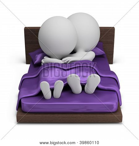 3D Small People - Couple In Bed