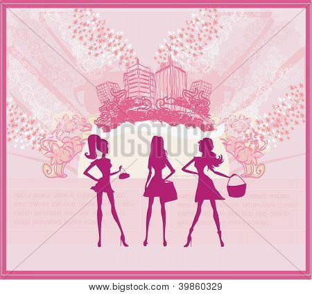 Fashion Girls Shopping Background