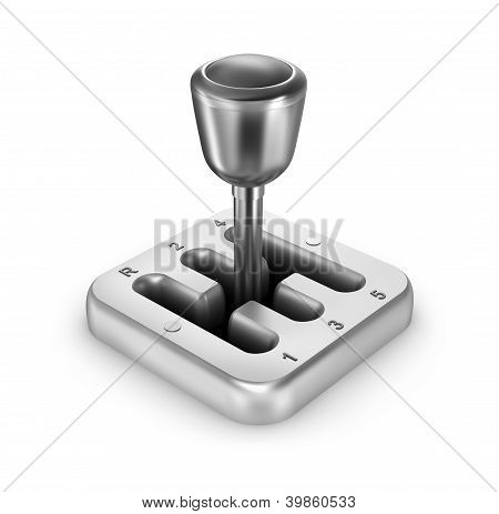 Car shift gear on white background